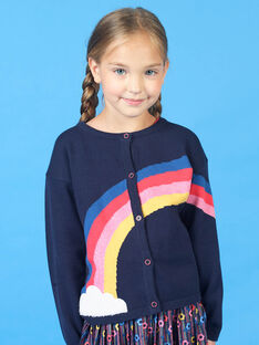 Casaco de malha azul-marinho e vermelho criança menina LAHACAR / 21S901X1CAR070