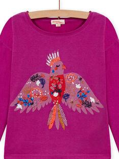 T-shirt de mangas compridas violino com padrão papagaio menina MAPATI1 / 21W901H3TML712