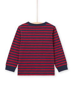T-shirt de mangas compridas às riscas vermelho e azul-marinho menino MOJOTIRIB2 / 21W90224TML505