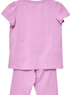 Pijama em jersey malva criança menina JEFAPYJTOUC / 20SH1122PYJH700