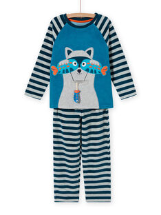 Conjunto de pijama cinzento com padrão de guaxinim menino MEGOPYJRAC / 21WH1286PYJC235