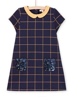 Vestido de mangas curtas azul noite aos quadrados amarelo menina MAJOROB1 / 21W90122ROBC205