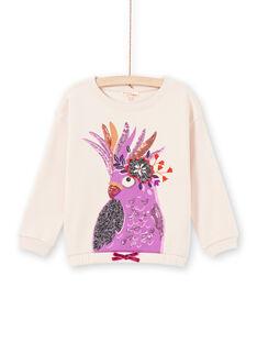 Sweat mangas compridas rosa pálido com animação papagaio menina MAPASWEA / 21W901H1SWED319