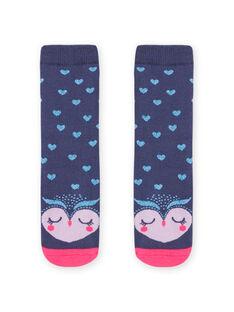 Meias bouclettes azul com padrão coruja menina MYAPLACHO / 21WI01O1SOQC202