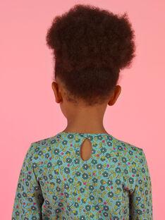 Blusa de mangas compridas verde claro com estampado florido menina MAKATEE5 / 21W901I5TML612