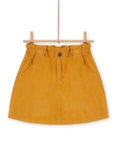 Saia paperbag amarelo em veludo canelado menina MASAUJUP1 / 21W901P2JUPB107