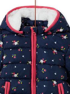 Blusão com capuz azul-marinho com estampado florido bebé menina MIKADOU / 21WG0952D3E070