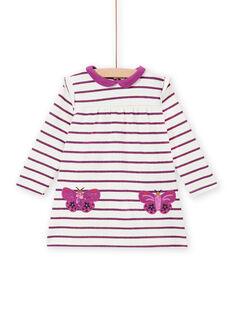 Vestido às riscas bolsos borboletas bebé menina MIPAROB2 / 21WG09H5ROB712