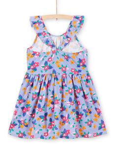 Vestido de alças com folhos estampado às riscas e flores menina LAPLAROB1 / 21S901T2ROB000