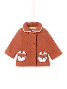 Sobretudo em lã castanho com padrão raposa bebé menina MICHECKMAN / 21WG0961MAN817