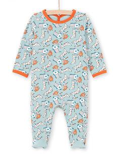 Babygro verde-água e laranja estampado cão bebé menino MEGAGREAOP / 21WH1434GRE219