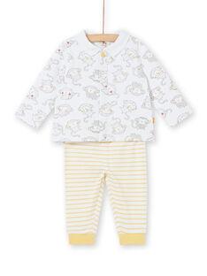 Conjunto polo de mangas compridas estampado macaco e leggings às riscas nascimento menino LOU1ENS3 / 21SF04H1ENS000
