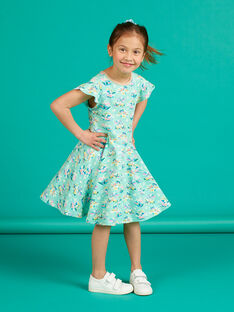 Vestido verde água estampado florido menina LAVEROB2 / 21S901Q4ROBG621