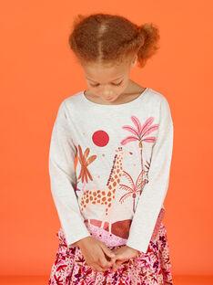 T-shirt cru mesclado com padrão fantasia menina MACOMTEE2 / 21W901L3TML006