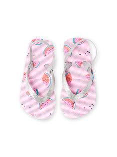 Chinelos rosa às riscas com estampado de melancia menina LFTONGFRUIT / 21KK3562D01000