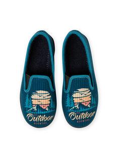 Pantufas azul-petróleo padrão paisagem menino MOPANTOUT / 21XK3621D0B715