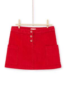 Saia vermelho canelada menina MACOMJUP1 / 21W901L2JUP408