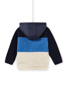 Casaco de malha com capuz tricolor em pelo sintético menino MOPLAGIL / 21W902O1GIL705