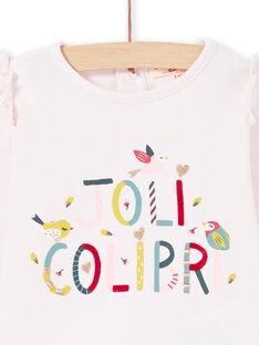 T-shirt mangas compridas rosa com inscrição Joli Colibri bebé menina MIKATEE / 21WG09I1TML632