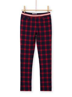 Calças milano azul-noite e vermelho com estampado tartã menina MAMIXPANT / 21W901J1PANC205