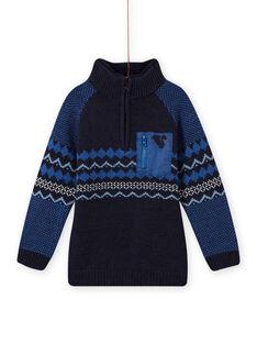 Camisola jacquard azul menino MOPLAPUL / 21W902O1PUL705