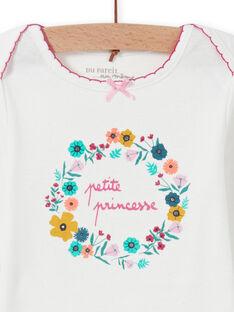 Body branco com padrão de coroa de flores bebé menina MEFIBODPRI / 21WH13C4BDL001