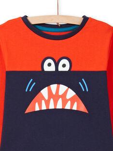Conjunto pijama T-shirt e calças laranja e azul escuro menino MEGOPYJMAN4 / 21WH1274PYGE414