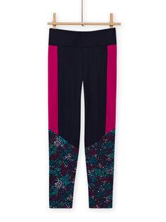 Leggings azul-marinho com estampado florido menina MAJOBAJOG4 / 21W90119PANC205