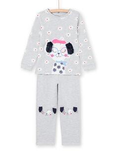 Conjunto pijama T-shirt e calças cinzento mesclado menina MEFAPYJDOG / 21WH1185PYJ943