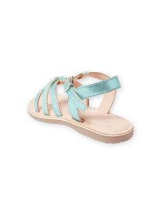 Sandálias de couro verde iridescente com tiras de purpurinas menina LFSANDLOU / 21KK355CD0E600