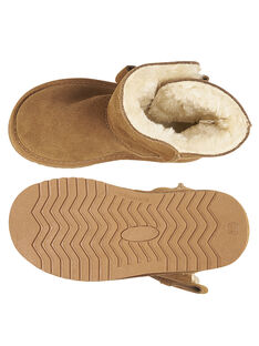 Botas quentes crosta de couro camel criança menina GFBOTTEPAU / 19WK35Y4D10804