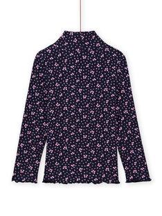 Camisola interior canelada azul-marinho com estampado florido menina MAJOSOUP6 / 21W901N3SPL070