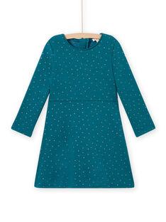Vestido estilo patinadora azul-pato às bolinhas em moletão menina MAJOLROB3 / 21W901N2ROB714