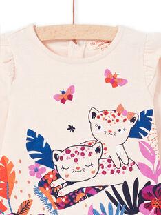 T-shirt de mangas compridas rosa pálido com padrões tigres bebé menina MIPATEE1 / 21WG09H4TMLD319