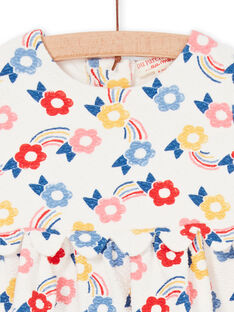Vestido cru e azul estampado florido bebé menina LIHAROB1 / 21SG09X1ROB001