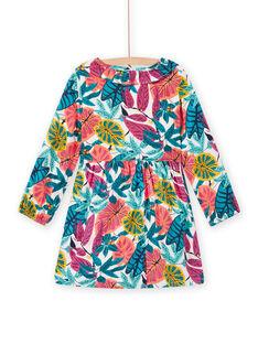 Vestido rosa em twill estampado florido menina MATUROB2 / 21W901K4ROBH705