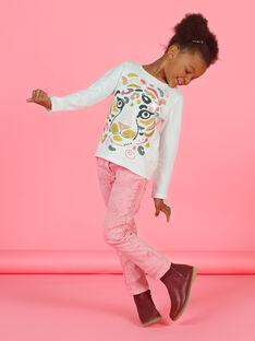 Calças de ganga rosa efeito acid wash menina MAKAJEAN / 21W901I1JEAD305