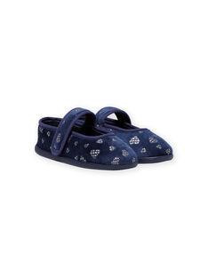 Sabrinas azul-marinho em veludo padrão corações com brilhantes menina MAPANTHEART / 21XK3521D07070