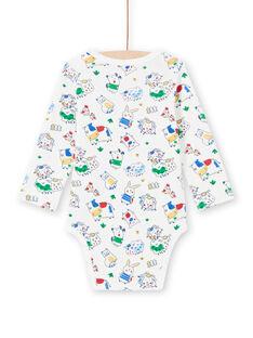 Body de mangas compridas cru padrões animais bebé menino MEGABODFER / 21WH14B8BDL001