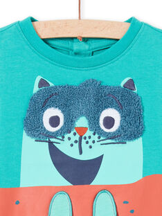 T-shirt de mangas compridas turquesa com estampado gato skater bebé menino MUTUTEE1 / 21WG10K2TMLC217