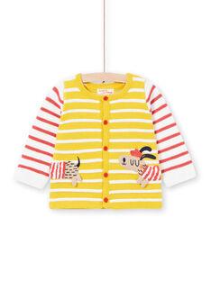 Casaco de malha tricô às riscas amarelo bebé menino LUNOGIL / 21SG10L1GIL106