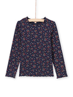 T-shirt azul-marinho estampado florido menina MAJOUTEE6 / 21W90121TMLC205