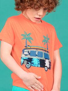 T-shirt laranja fluorescente menino LOBONTI2 / 21S902W5TMCE411