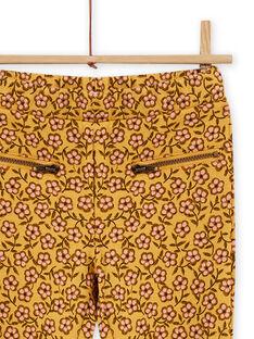 Calças forradas amarelo com estampado florido menina MASAUPANT1 / 21W901P2PANB107