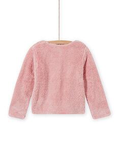 Cardigã reversível rosa pálido de pelo sintético menina MAJOCARF3 / 21W90112CAR312