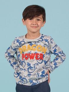 T-shirt cinzenta mesclada e azul estampado dragão menino MOPLATEE1 / 21W902O2TMLJ922