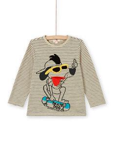 T-shirt areia e preto às riscas e animação cão em algodão criança menino LOPOETEE / 21S902Y1TML808