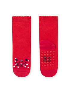 Meias vermelho padrão leopardo bebé menina MYIJOSOQB1 / 21WI0911SOQ511