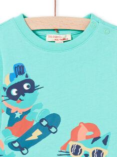 T-shirt turquesa com padrões de gatos skaters bebé menino MUTUTEE2 / 21WG10K1TML209