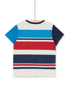 T-shirt cinzento mesclado e azul às riscas criança menino LOHATI2 / 21S902X1TMCJ920